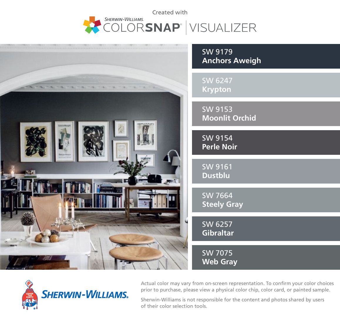I found these colors with colorsnap visualizer for iphone by sherwin williams anchors aweigh for Sherwin williams exterior paint color visualizer