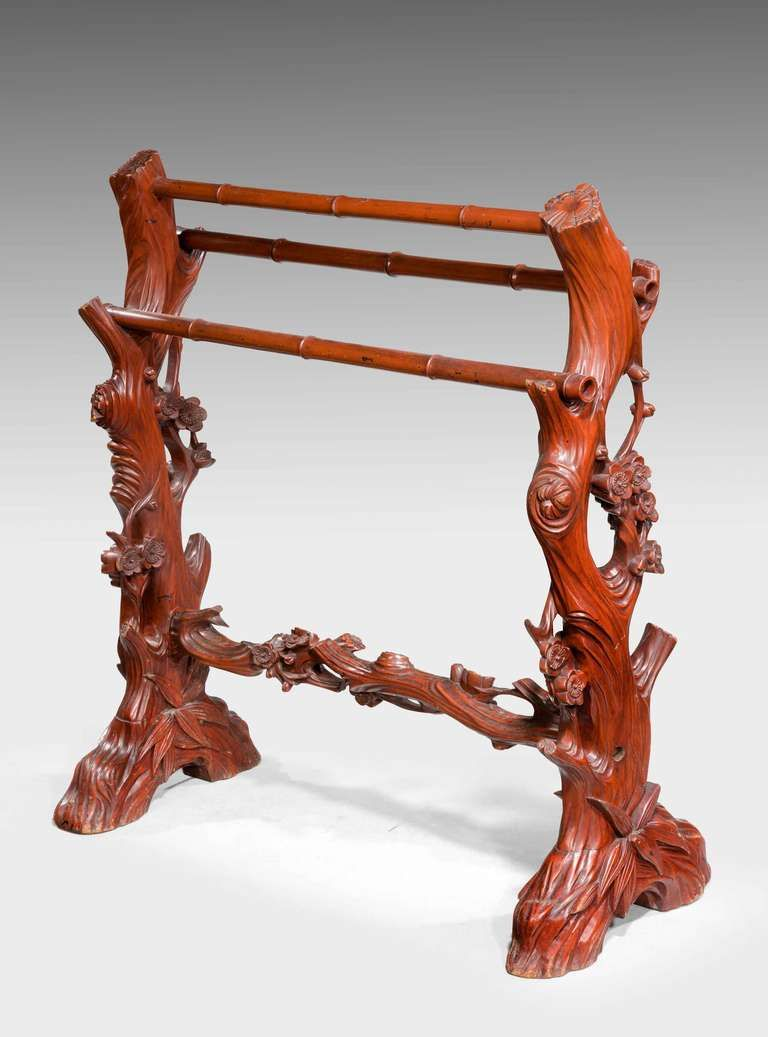 Best 19Th Century Carved Towel Rail Towel Rail Carving Antique Furniture 400 x 300
