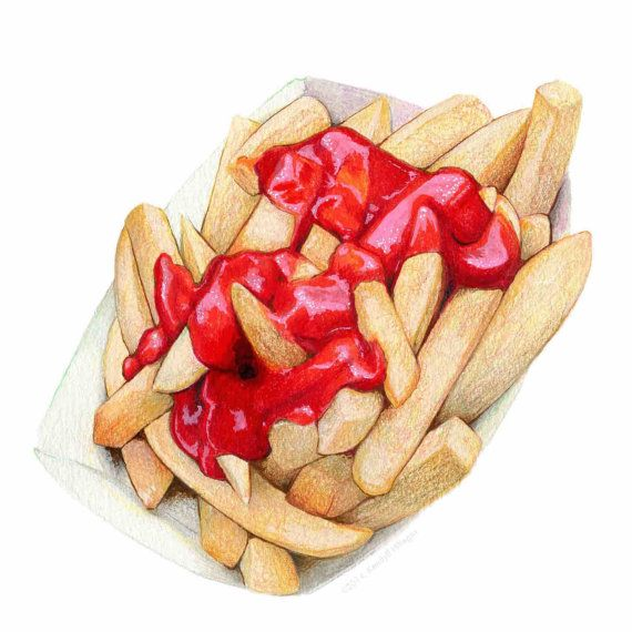 Archival quality print of my original food illustration featuring one of my very favorite foods - French Fries! This illustration has a lot of