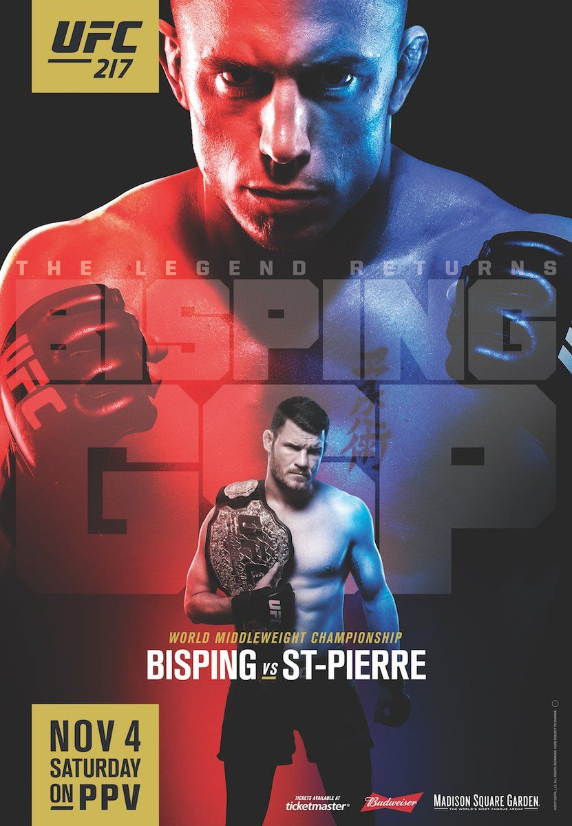Alternate Ufc 217 Poster At Bars To Promote The Ppv Ufc Poster Ufc Boxing Ufc