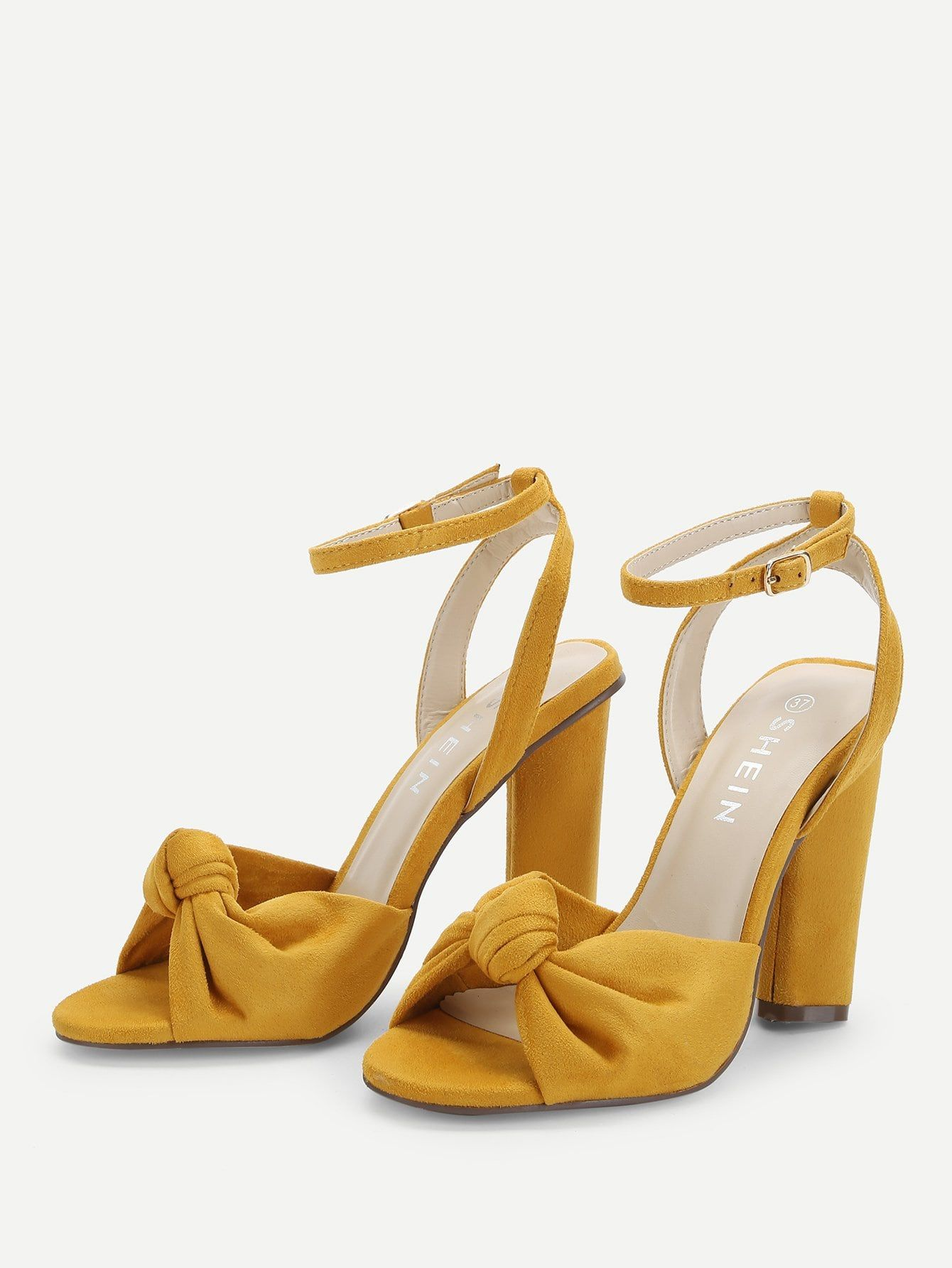 58185d91184 Elegant Open Toe Ankle strap Yellow High Heel Chunky Knot Design Block  Heeled Sandals