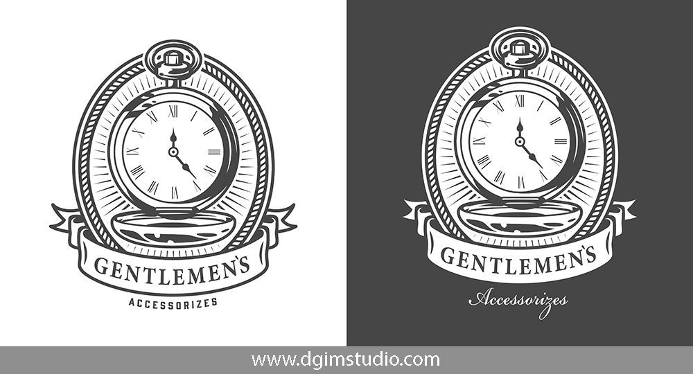 Monochrome vintage emblem of a pocket watch on white and black