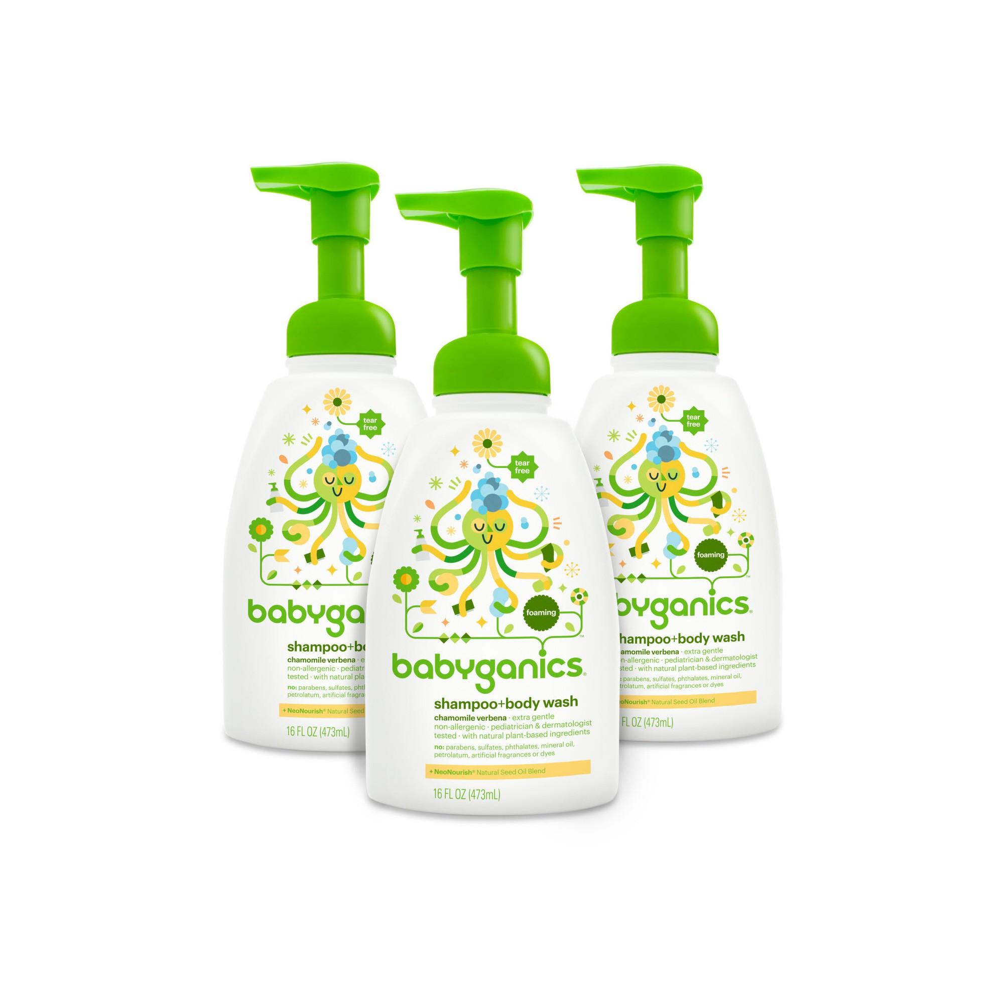 Babyganics Shampoo Body Wash Chamomile Verbena 16oz 3pk