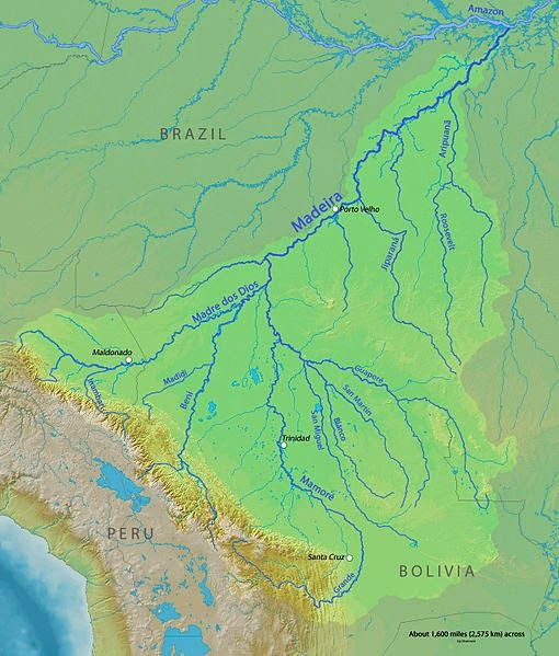 The Madeira River Is A Major Waterway In South America - World big river map