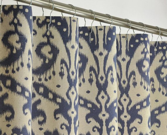 Navy Ikat Shower Curtain 72 Wide X 72 78 84 96 Long By Pondlilly