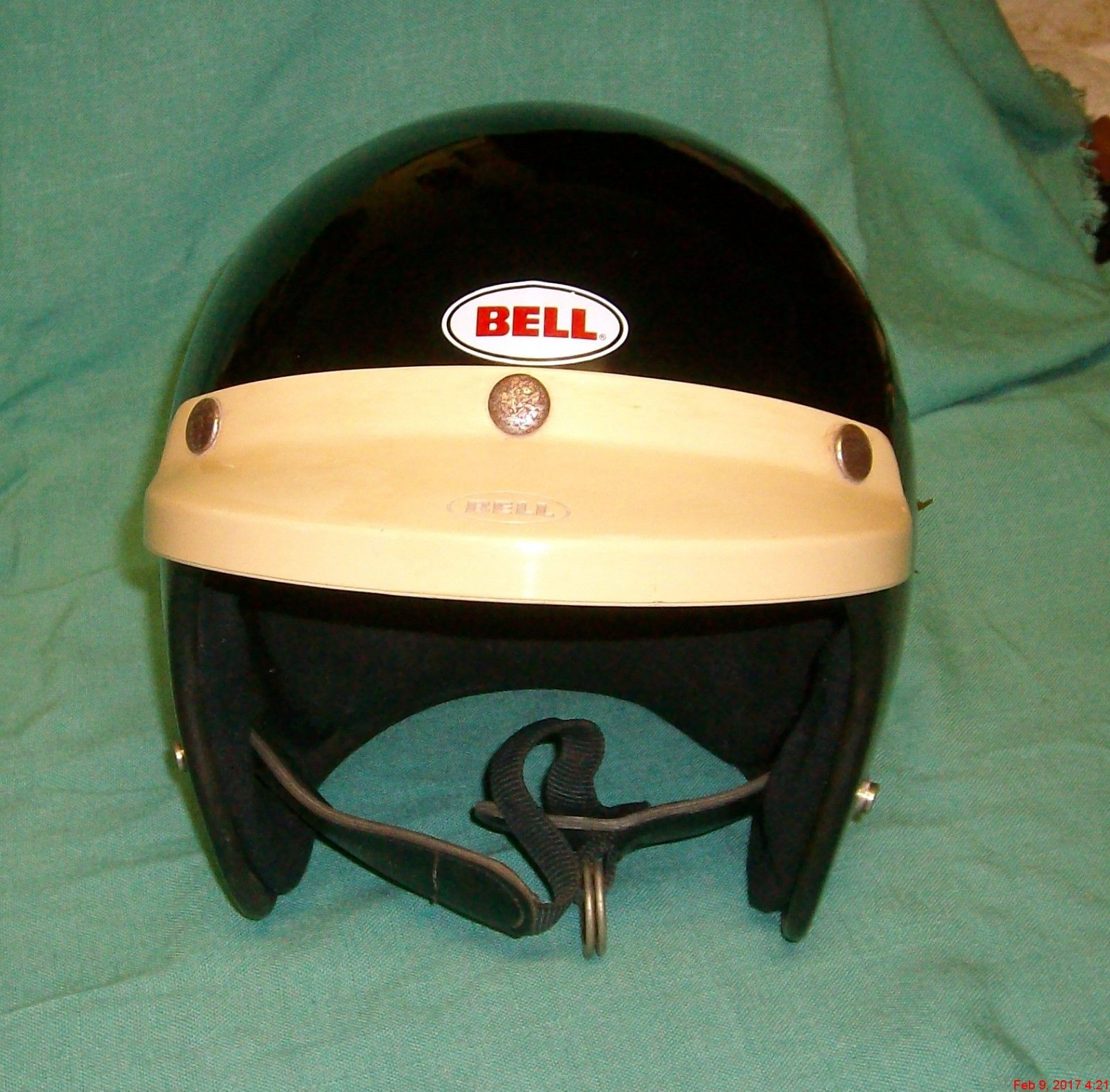 Bell custom 500 gloss black vintage low profile helmet chopper harley -  Apparel Vintage Gloss Black Bell Rt Motorcycle Helmet R T Usa 7 79 Size 7