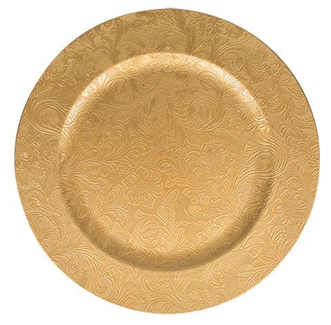 Gold Plastic Charger Plates With Beaded Rims 13 In Gold Wedding