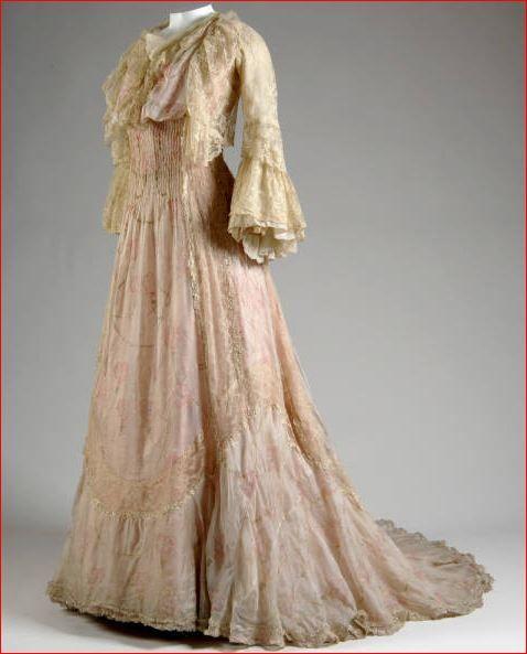 ~House Of Worth, Pink Floral Chiffon Tea Dress. Paris, C