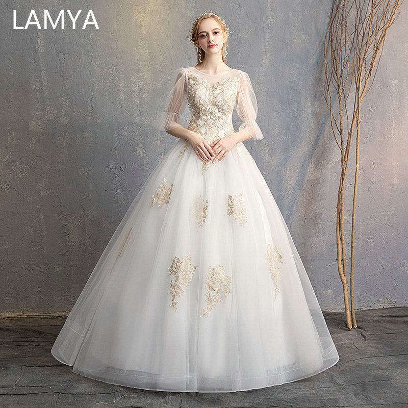 Lamya Princess Romantic Wedding Dress 2019 Elegant Half Sleeves