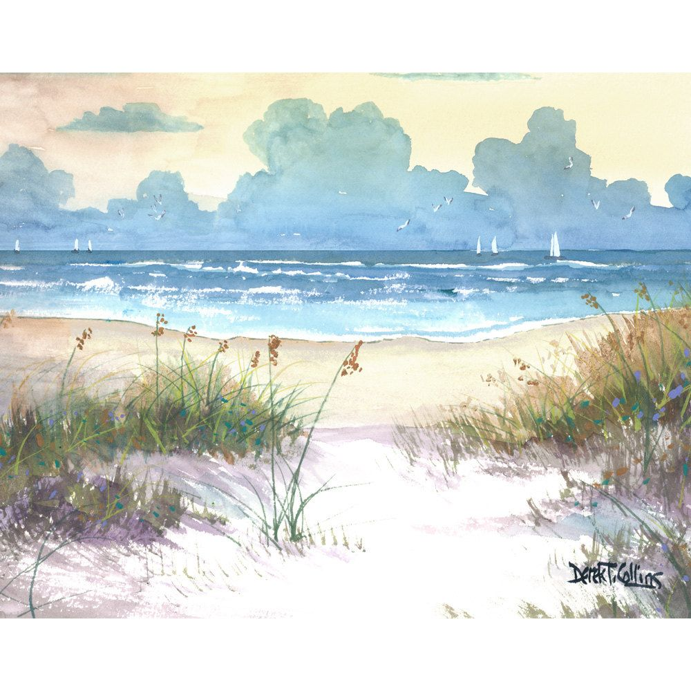 Aquarelle Paysage Mer Avoine Impression Peinture Bateaux A Voiles