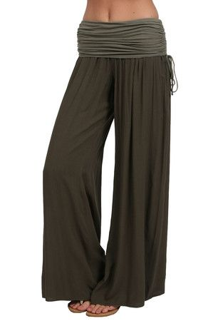 The Side Ruched Boho Pant in Olive by Hard Tail at CoutureCandy.com