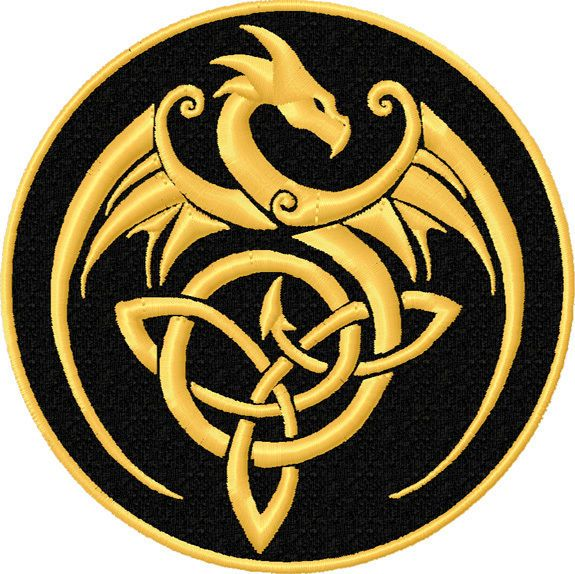 Gold Dragon Celtic Knot Patch Celtic Knot Dragon Patch Celtic