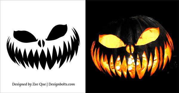 10 Free Scary Halloween Pumpkin Carving Patterns / Stencils
