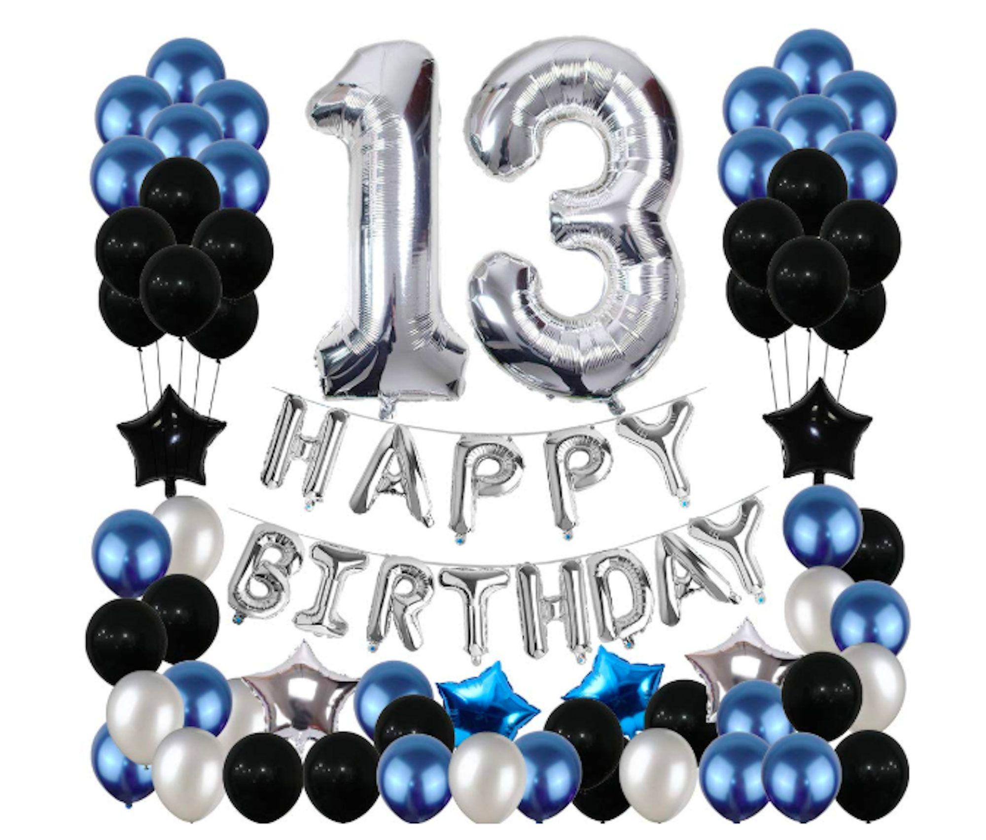 13 Remolinos colgantes de papel de aluminio para 13 a/ños Suministros de decoraci/ón para fiesta de cumplea/ños Happy 13th Birthday Party Colgante Remolinos Decoraciones de techo para hombres
