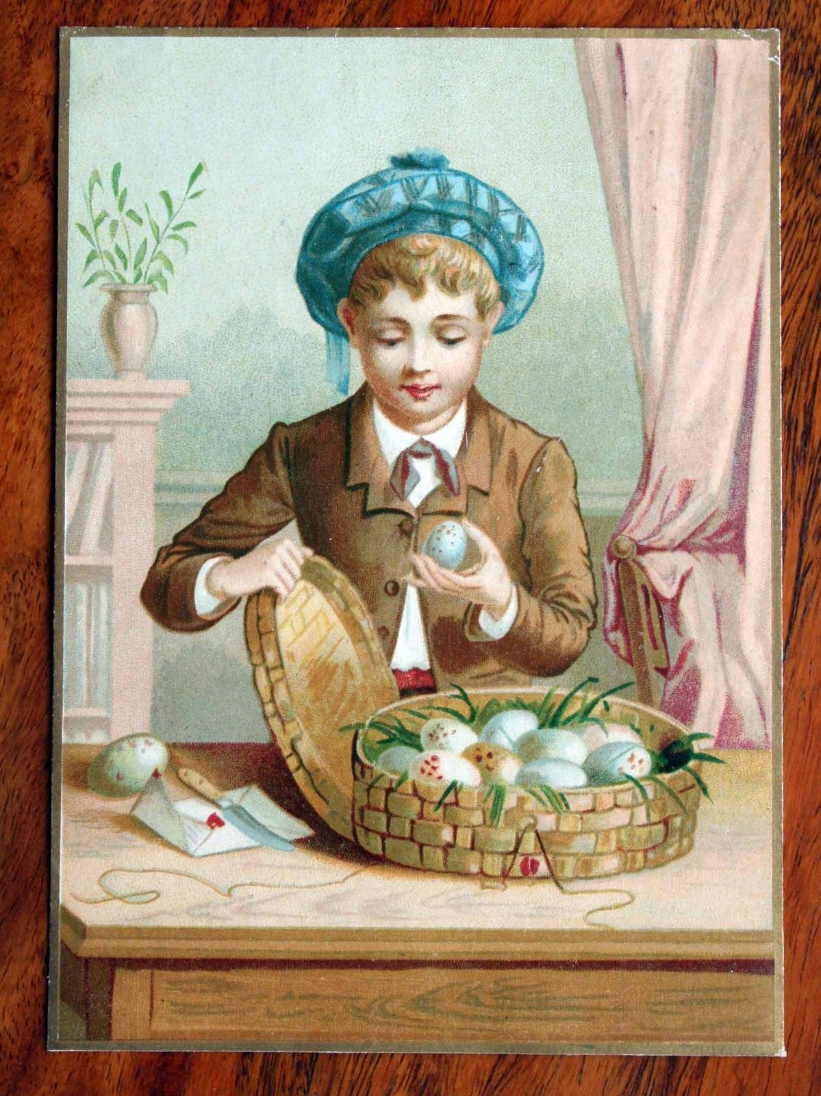 Girl with large egg easter greetings victorian british