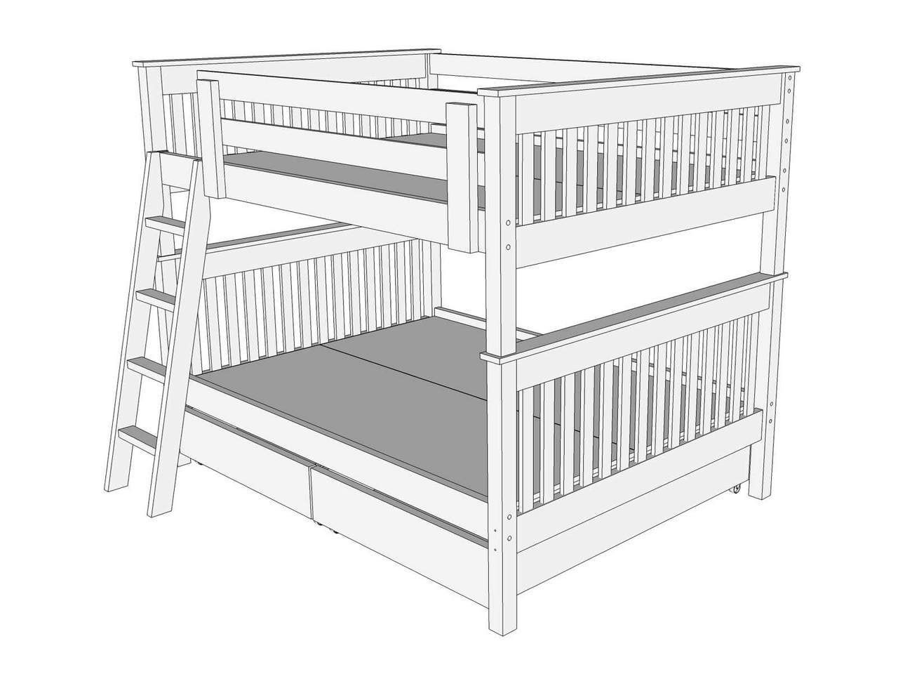 Queen loft bed ideas  Drawing   Right View of Bunk Bed B  Home decor  Pinterest