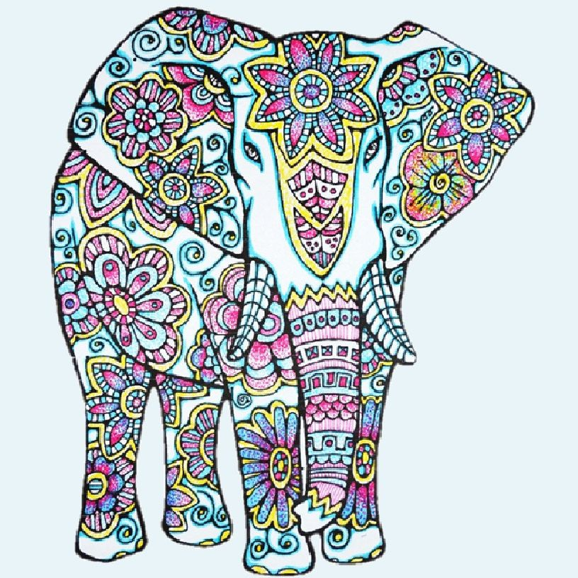 elephant coloring page to print and color nature flowers adult coloring page original instant digital download