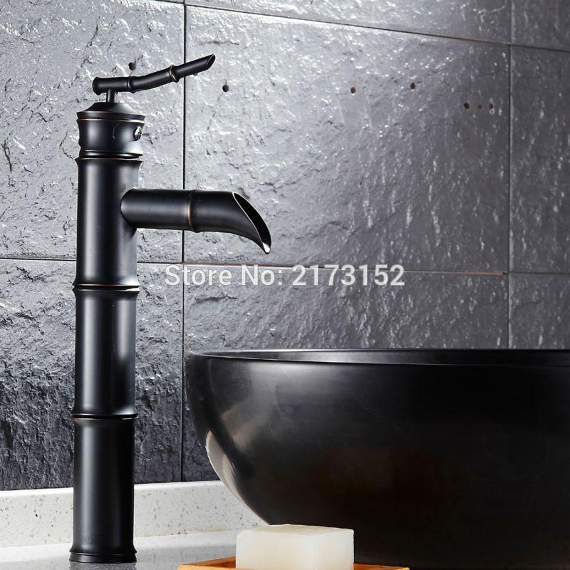 Free Shipping Bamboo Shape Tall Black Bronze Bathroom Waterfall ...