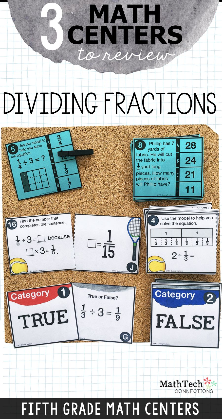 5th - Dividing Fractions Math Centers - Math Games   Math