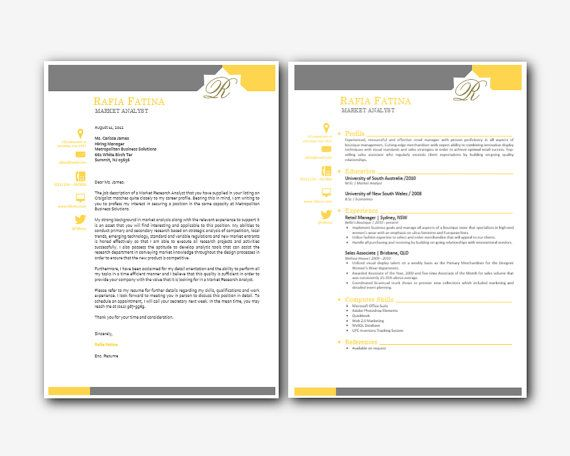 Grey and Yellow Bar Iconic Microsoft Word Resume (1 and 2 pages - pages templates resume