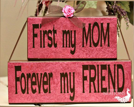 Mom Forever My Friends Wood Blocks