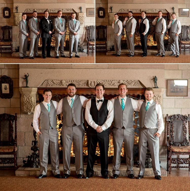 Cherokee Castle has some of the most amazing details with huge fireplaces, amazing stone andbeautiful art! What better place that photos with your bridal party!