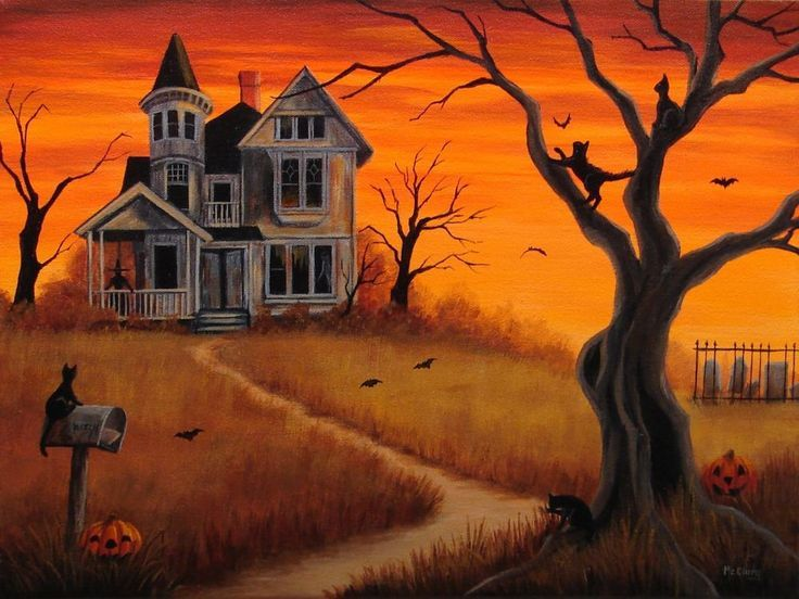 haunted house orange sky halloween haunted houses halloween rh pinterest com