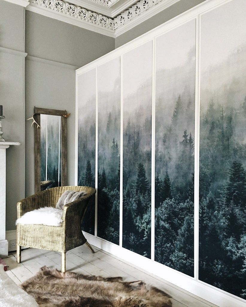 Ikea Pax Wardrobe Hack With Fabric Panels.