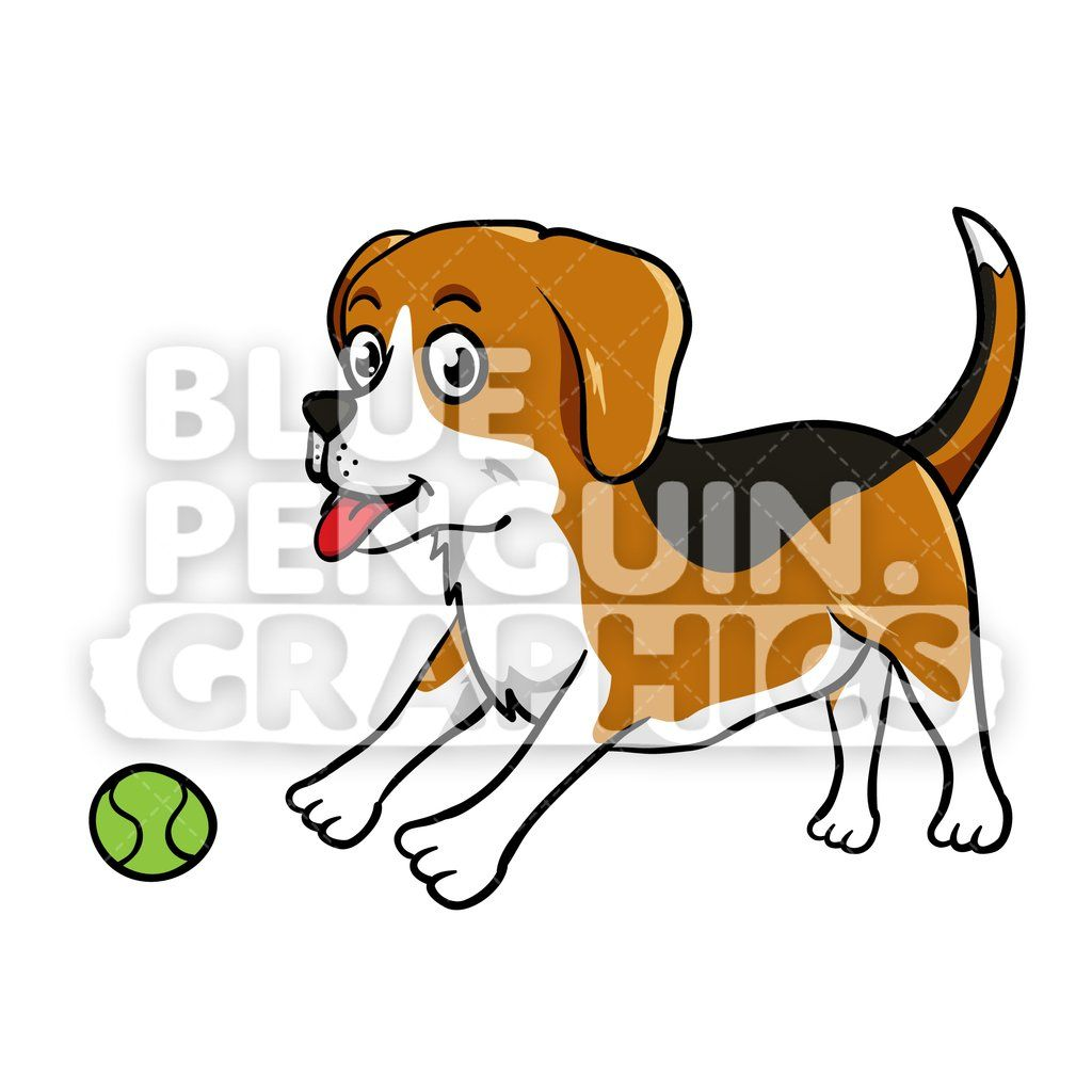 Beagle Playing A Ball Vector Cartoon Clipart Beagle