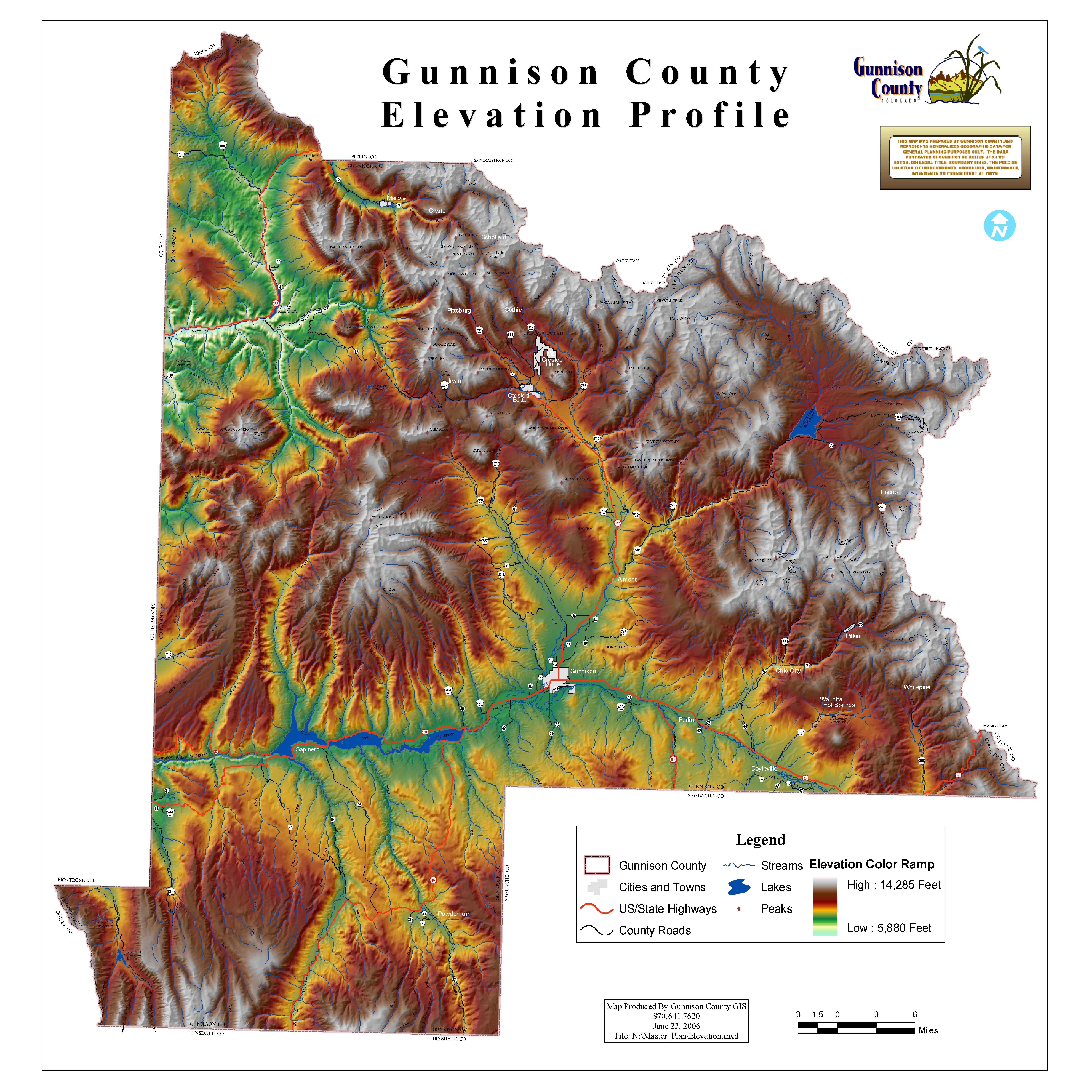 Gunnison County Colorado Map.Gunnison County Elevation Profile Map Colorado Counties