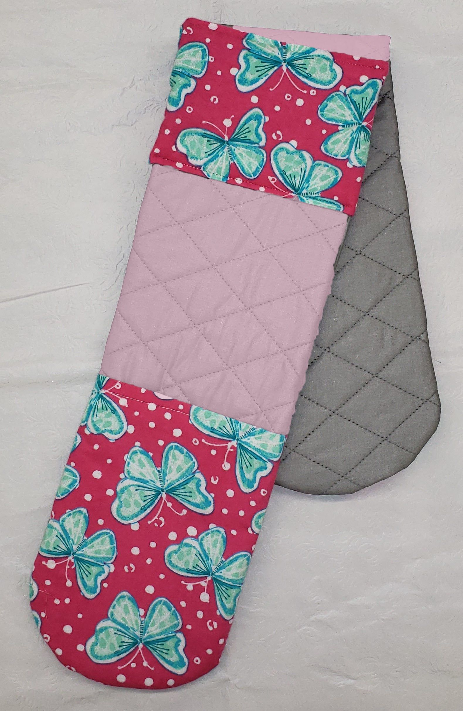 Pink Amp Teal Butterflies Double Oven Mitt In 2020 Teal