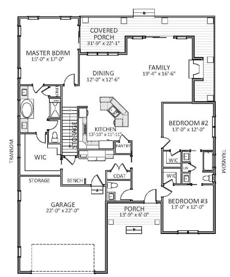 Traditional Plan 2,230 Square Feet, 3 Bedrooms, 2.5