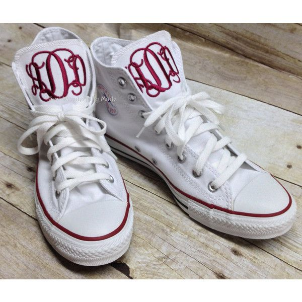 bb0a320f0aeb Monogrammed Converse High Tops Monogrammed Chucks Monogrammed Chuck...  ( 80) ❤ liked on Polyvore featuring shoes