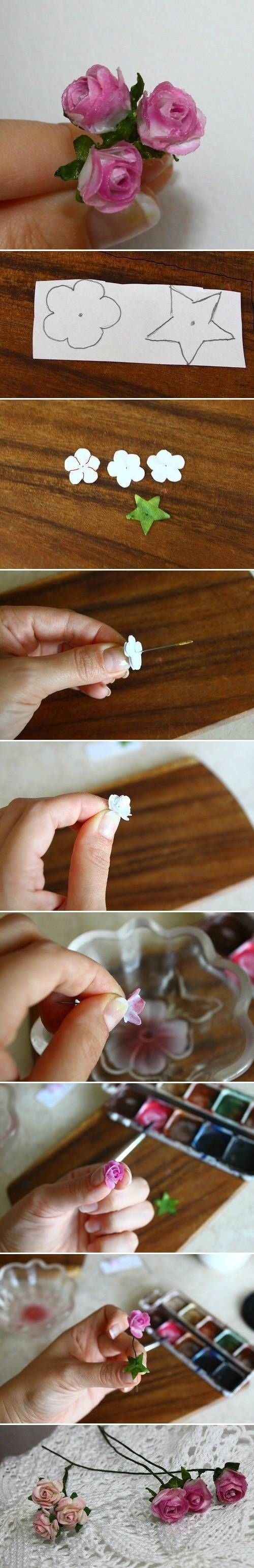 DIY Delicate Flower ~ doesn't say but I think it's paper but don't see why it wouldn't work for thin cloth. I'd spray a clear protective fixative on it afterwards too.