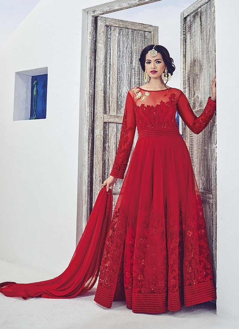0b876fd16 Blossom Red Coloured Georgette Embroidery Indian Designer Gown At Best  Price By Uttamvastra - Online Shopping For Women