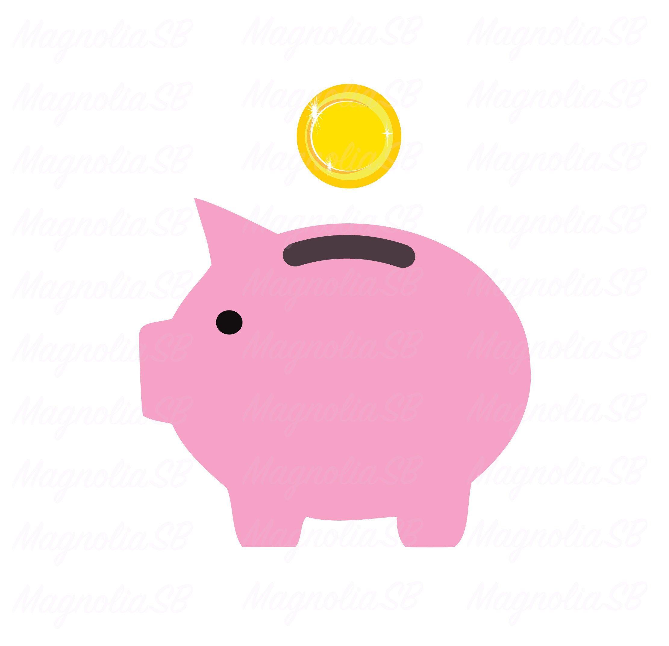 Piggy Bank Svg Dxf Clipart Cuttingmoney Golden Coin Etsy Free Printable Stationery Clip Art Piggy Bank