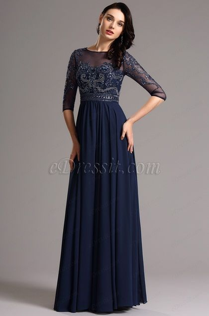 USD 209.99] Half Sleeves Navy Blue Evening Dress Formal Gown ...