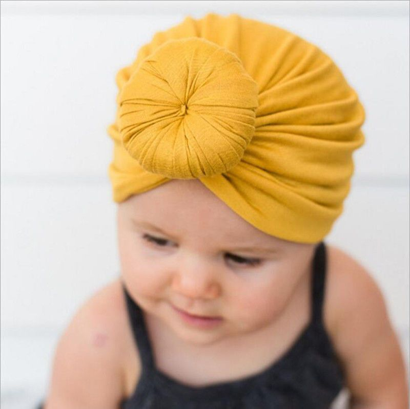 Just Baby Toddler Boy Girl Indian Style Stretchy Solid Turban Hat Hair Head Wrap Cap 10 Colors Hats & Caps