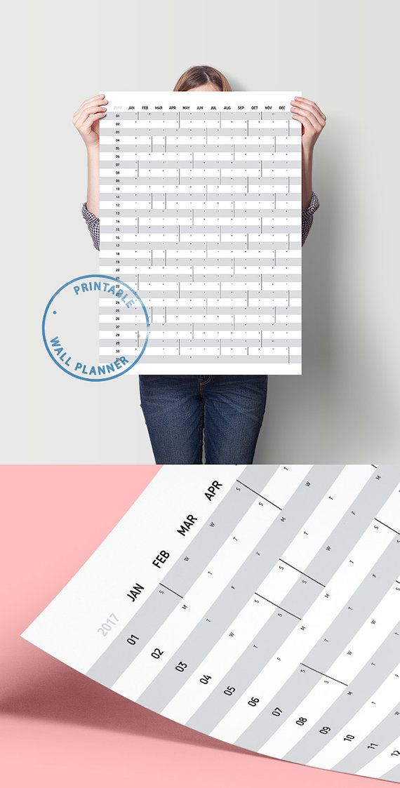 Planner  Printable Calendar Yearly Planner Wall Calendar A A