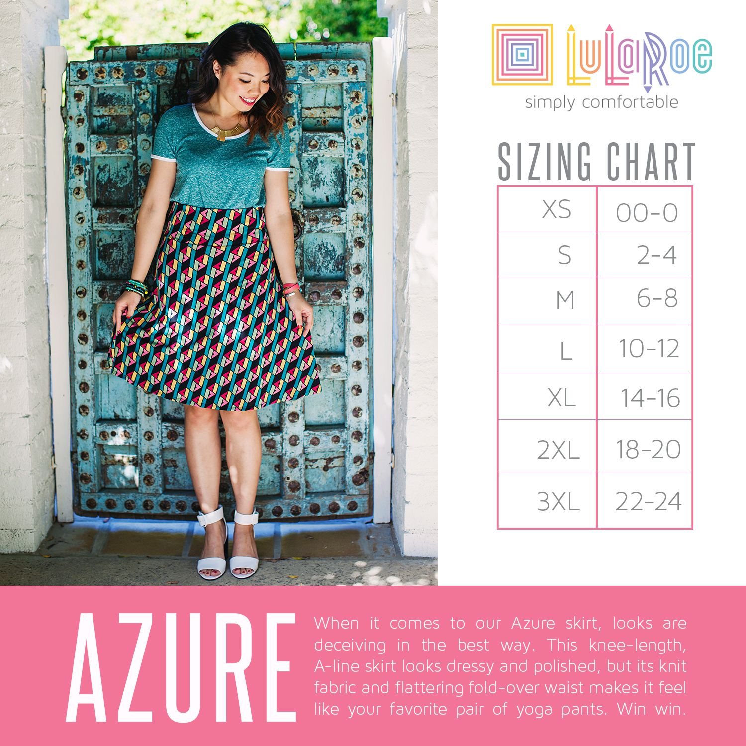 Lularoe Azure Skirt Sizing Chart This Features A Yoga Band Waist So That It Can Be Folded To Adjust Length Check Out Thiore At