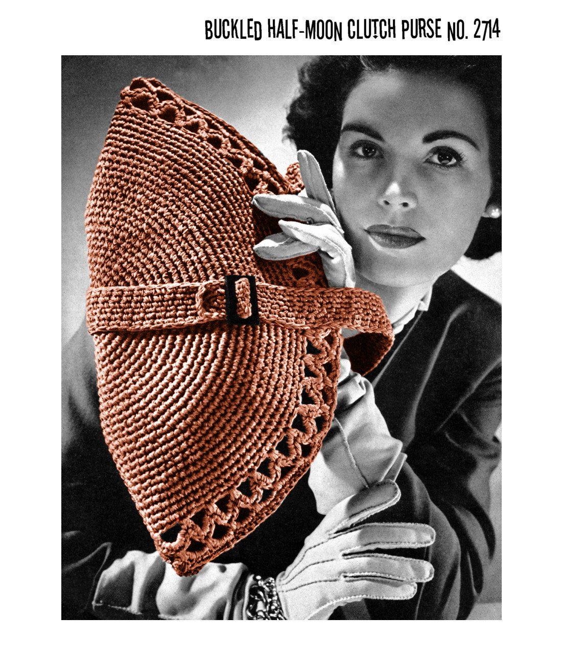 vintage 1940s crochet pattern half moon purse buckle strap clutch handbag pdf crochet. Black Bedroom Furniture Sets. Home Design Ideas