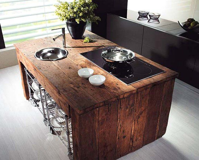 A powerful kitchen island using reclaimed barn wood. The Green ...