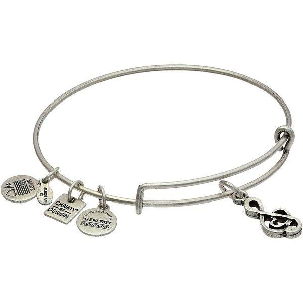 Alex and Ani Sweet Melody Charm Bangle Bracelet ($28) ❤ liked on Polyvore featuring jewelry, bracelets, expandable bangle bracelet, silver bangles, bangle charm bracelet, alex and ani charms and charm bangle