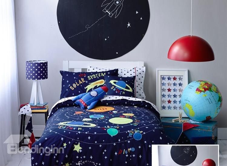 Solar System Pattern Cotton Boy 3-Piece Blue Duvet Covers/Bedding Sets images