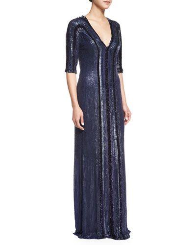 TA5NG Jenny Packham Allover Beaded Column Gown