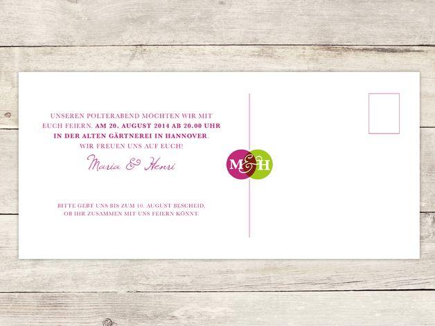 Einladungskarten   Einladung Polterabend 01 // DIN Lang   Ein Designerstück  Von Roccos Shop