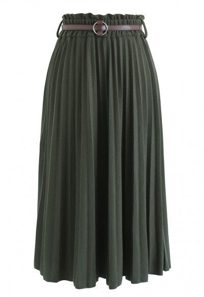 f8f3e83d7 Shall We Talk Pleated Midi Skirt in Army Green | style in 2019 ...