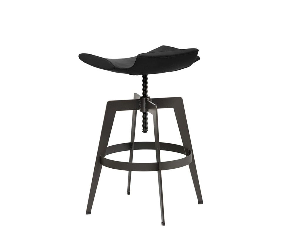 BANCROFT ADJUSTABLE BARSTOOL | GRAPHITE | This modern adjustable barstool from our Urban Unity collection is stocked in graphite and onyx faux leather. Features a low profile back and curved seat with a powder coated steel base. Great for residential and contract environments.