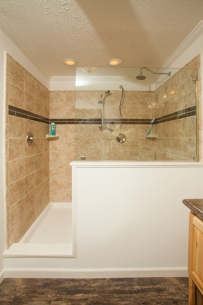 Colony Homes Tl820a Timberland Ranch Master Bathroom Features This Great 4 X6 Walk In Ceramic Tile Shower Double Heads Recessed Ceiling Lighting