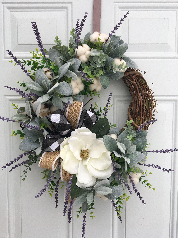 Photo of Farmhouse Wreath, Rustic Wreath, Lambs Ear Wreath, Magnolia Wreath, Cotton Wreath, Farmhouse decor, Rustic Magnolia Wreath, lavender wreath